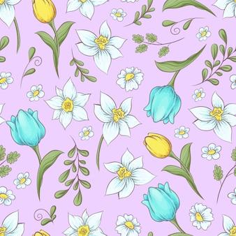 Nahtloses muster von narzissen tulpen.