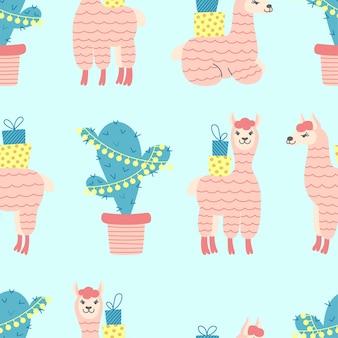 Nahtloses muster von niedlichen alpakas mit regenbogen und wolken auf weißem hintergrund. ideal für babytuch, tapete, geschenkpapier, wohnkultur.