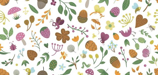 Nahtloses muster von niedlichen flachen waldinsekten und -pflanzen. waldelemente