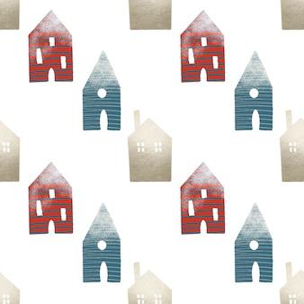 Nahtloses muster von niedlichen häusern, weihnachtsdekorationen im skandinavischen stil