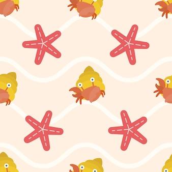 Nahtloses muster von niedlichen krabben und seesternen
