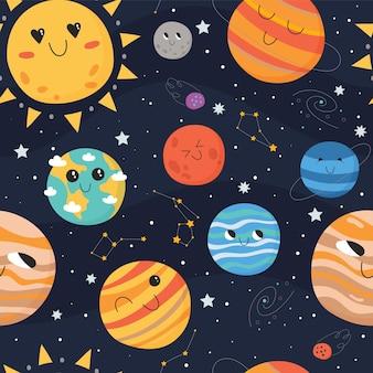 Nahtloses muster von niedlichen planeten mit gesichtern und konstellationen, weltraumhintergrund