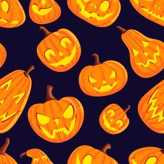 Nahtloses muster von niedlichen und beängstigenden halloween-kürbissen mit flacher vektorillustration des gesichterkarikaturgemüses auf dunklem hintergrund.