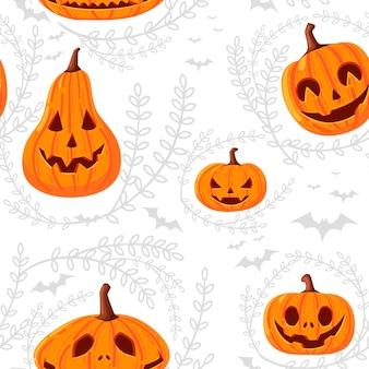 Nahtloses muster von niedlichen und beängstigenden halloween-kürbissen mit gesichtern cartoon-gemüse flache vektorgrafik auf weißem hintergrund mit silhouette von blättern und fledermaus.
