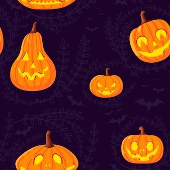 Nahtloses muster von niedlichen und gruseligen halloween-kürbissen mit gesichtern cartoon-gemüse flache vektorgrafik auf dunklem hintergrund mit silhouette von blättern und fledermaus.