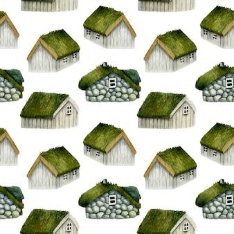 Nahtloses muster von norwegischen häusern des aquarells mit grasdach
