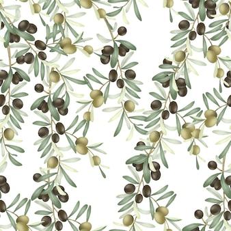 Nahtloses muster von olivenbaumzweigen mit grünen und schwarzen reifen oliven
