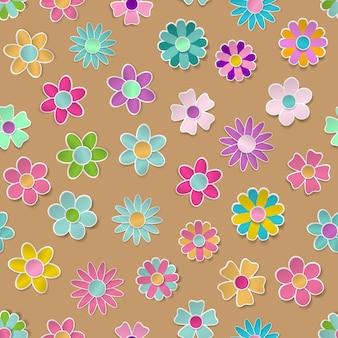Nahtloses muster von papierblumen in verschiedenen farben mit schatten