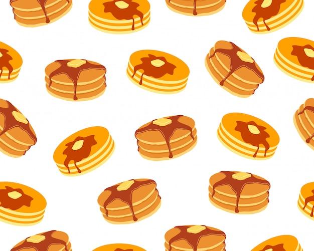 Nahtloses muster von pfannkuchen