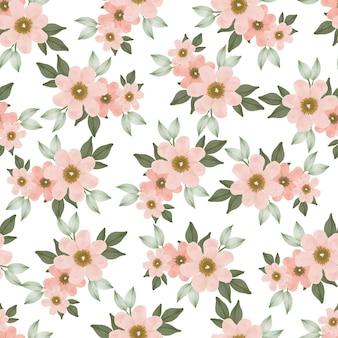 Nahtloses muster von pfirsichblumenstrauß für textildesign