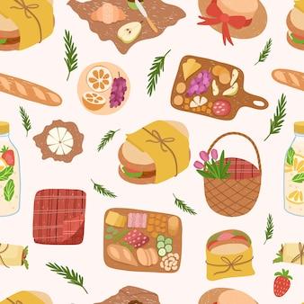 Nahtloses muster von picknick-essen und getränken