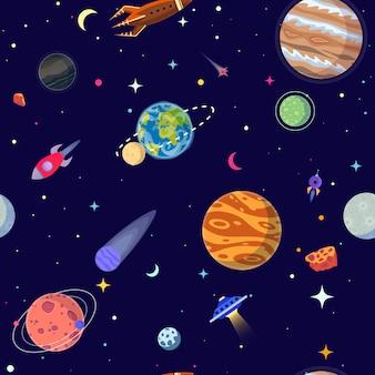 Nahtloses muster von planeten im offenen raum.