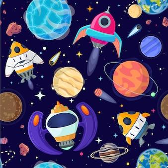 Nahtloses muster von planeten und von raumschiffen im offenen raum.