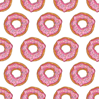 Nahtloses muster von rosa donuts