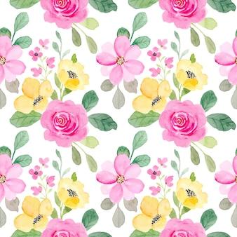 Nahtloses muster von rosa und gelbem blumenmuster mit aquarell