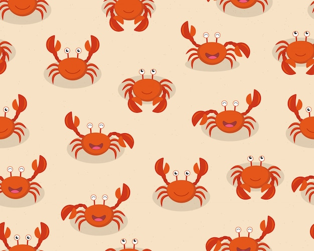 Nahtloses muster von roten krabben der netten karikatur