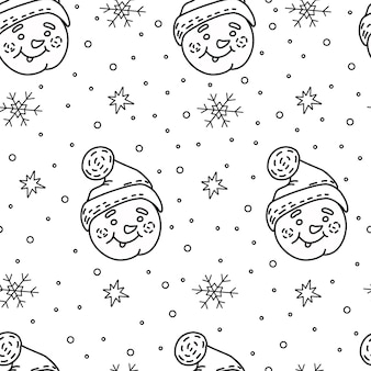 Nahtloses muster von schneemännern skizzieren weihnachts-malbuch