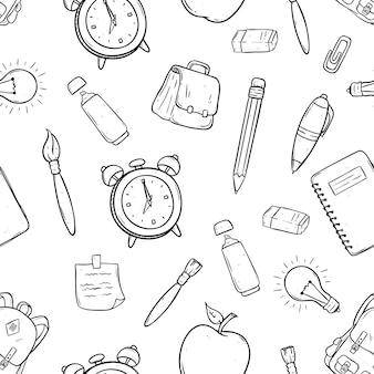 Nahtloses muster von schulartikeln oder von ikonen, die hand gezeichnet oder kritzeln kunst verwenden