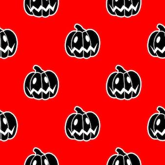 Nahtloses muster von schwarzen kürbissen auf einer roten hintergrundvektorillustration