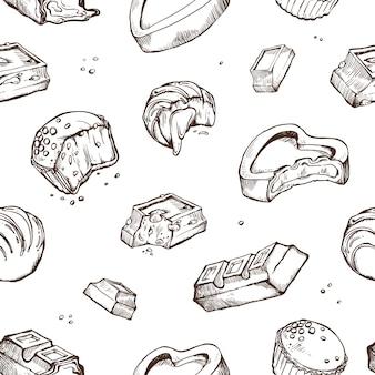 Nahtloses muster von skizzen gebissenen pralinen. süße brötchen, riegel, glasierte kakaobohnen. isolierte objekte auf einem weiß