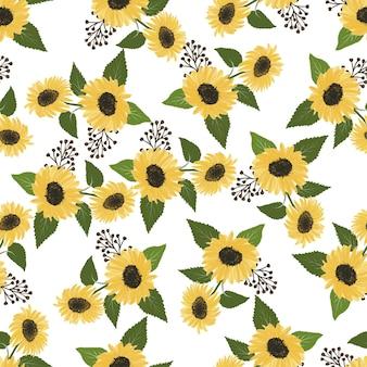 Nahtloses muster von sonnenblumen für textildesign