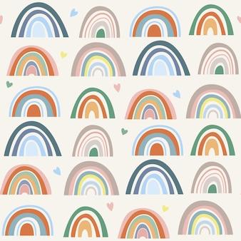 Nahtloses muster von stilisierten handgezeichneten regenbögen