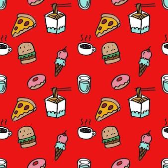 Nahtloses muster von süßen handgezeichneten essenssymbolen stück pizza burger eis heißgetränk donus