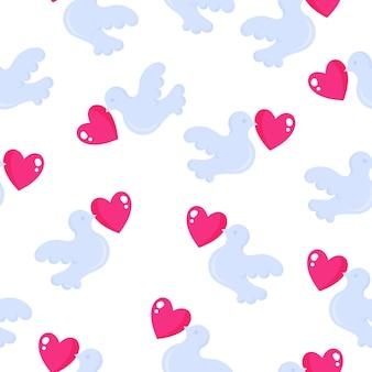 Nahtloses muster von tauben mit herz für die hochzeit oder den valentinstag.