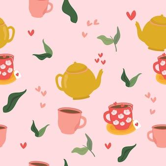 Nahtloses muster von teekanne und tasse