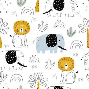 Nahtloses muster von tieren mit einem elefanten, einem löwen und palmen auf weißem hintergrund vector