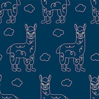Nahtloses muster von umrisslamas auf dunkelblauem hintergrund. nette handgezeichnete lamas mit wolken.