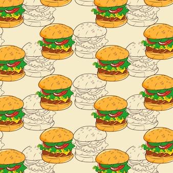 Nahtloses muster von vektor-hamburger für drucke