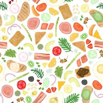 Nahtloses muster von verschiedenen elementen von gemüse- und fleischbestandteilen