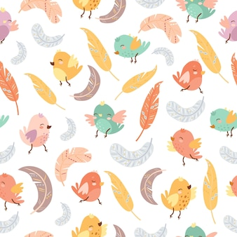Nahtloses muster von vögeln und federn