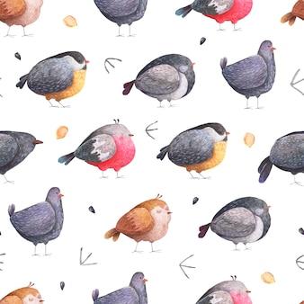 Nahtloses muster von vögeln