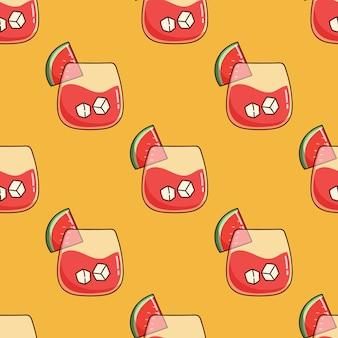Nahtloses muster von wassermelonensaft mit doodle-stil