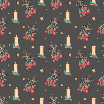 Nahtloses muster von weihnachten lokalisierte ikonen auf einem schwarzen hintergrund. winterurlaub-symbole. illustration für packpapier, dekorationen, textilien.
