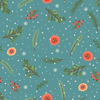 Nahtloses muster von weihnachten und guten rutsch ins neue jahr. weihnachtsbaum, blumen, beeren. symbole des neuen jahres. trendiger retro-stil. vektor-design-vorlage.