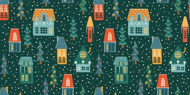 Nahtloses muster von weihnachten und guten rutsch ins neue jahr