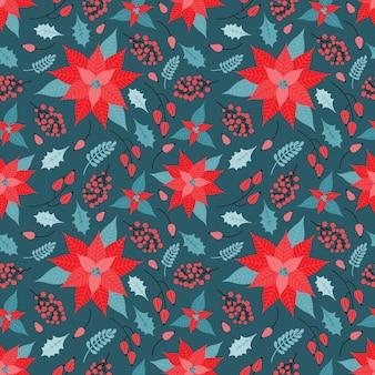 Nahtloses muster von weihnachten und neujahr im vektor. festlicher hintergrund von pflanzlichen dekorativen elementen, weihnachtsstern, roten beeren, stechpalmenblättern, zweigen. hand gezeichnete feiertagsillustration im weinlesestil.