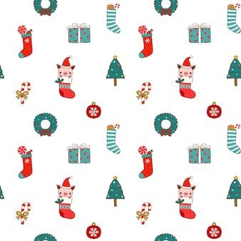 Nahtloses muster von weihnachten und von neujahr in der flachen art