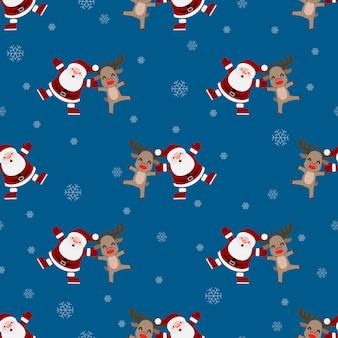 Nahtloses muster von weihnachten weihnachtsmann.