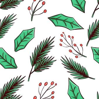 Nahtloses muster von weihnachtsblättern mit handgezeichnetem stil
