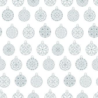 Nahtloses muster von weihnachtskugeln mit abstraktem geometrischem design