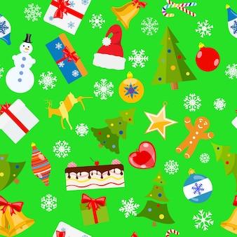 Nahtloses muster von weihnachtssymbolen im flachen stil auf grünem hintergrund