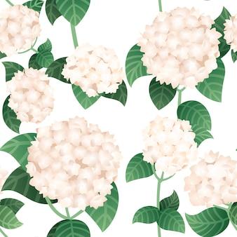 Nahtloses muster von weißen hortensienblüten mit grünen stielen und blättern vektor-illustration