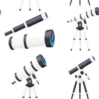 Nahtloses muster von weißen teleskopen mit ständern und ohne flache vektorgrafik auf weißem hintergrund.