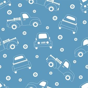 Nahtloses muster von weißen umriss-pickups und rädern auf blauem hintergrund.