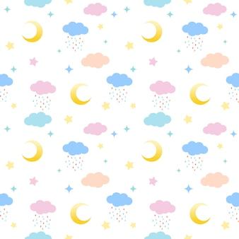 Nahtloses muster von wolken, von monden und von sternen