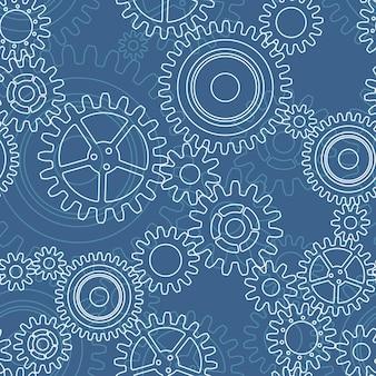 Nahtloses muster von zahnrädern, weiß auf blau